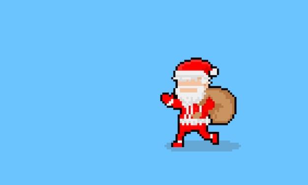 Pixel art cartoon running santa claus character.