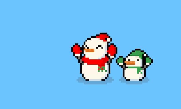 Pixel art cartoon santa snow man and elf character.