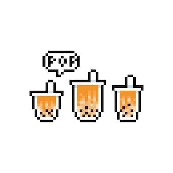 거품 우유 차 아이콘의 픽셀 아트 만화 세트.