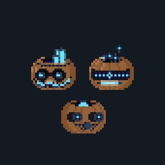 Pixel art cartoon set of pumpkin robot head icon