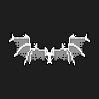Pixel art cartoon skeleton bat character icon.