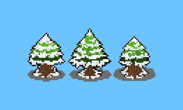 Pixel art cartoon snowy pine tree.