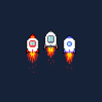 Pixel art cartoon space rocket icon set.