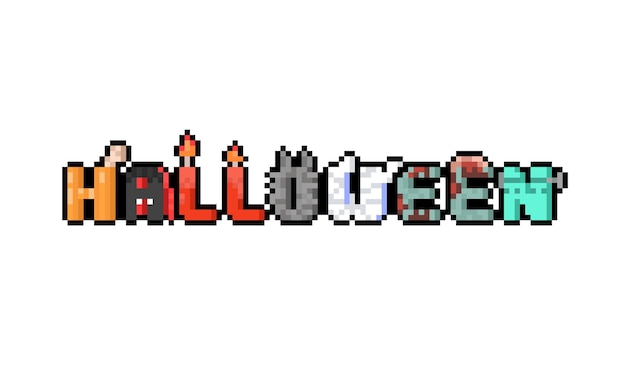 Пиксель арт мультфильм жуткий дизайн текста хэллоуин