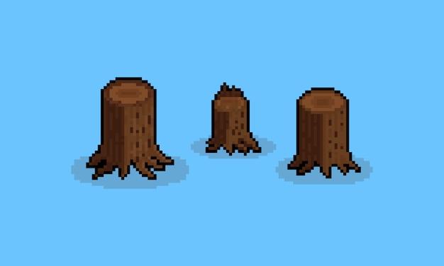 Pixel art cartoon stump set.8bit.