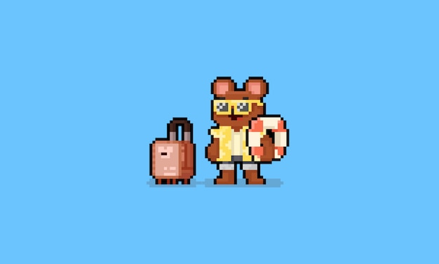 Pixel art cartoon summer brown bear character with luggage