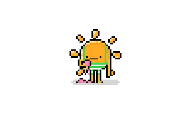 Pixel art cartoon sun character with trunks and melting ice cream.8bit summer.