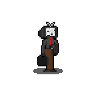 Pixel art cartoon television head character.