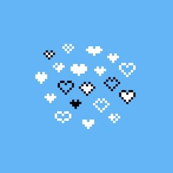 Pixel art cartoon white heart icon set.