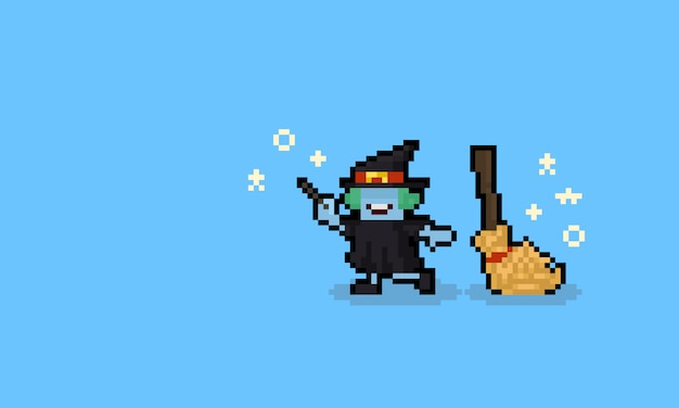 Pixel art cartoon witch character with broom. 8bit. halloween.