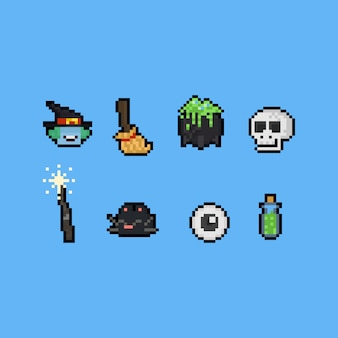 Pixel art cartoon witch elements. 8bit. halloween.