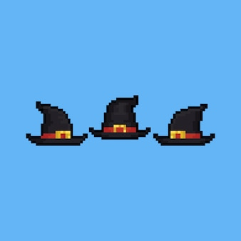 Pixel art cartoon witch hat icon set.