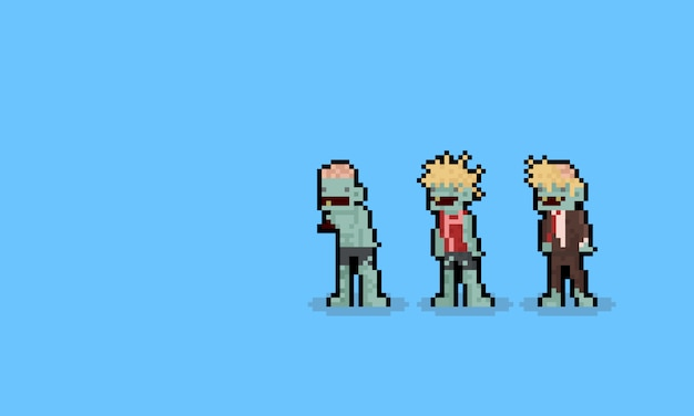 Pixel art cartoon zombie character set. 8bit. halloween.