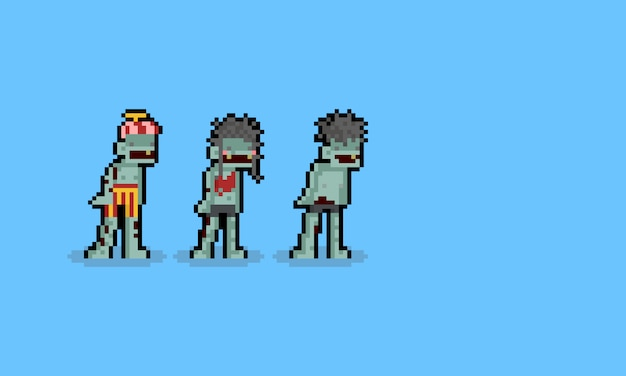 Pixel art cartoon zombie character set. 8bit. haolloween.