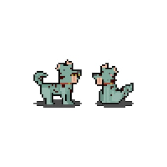 Pixel art cartoon zombie dog. halloween. 8bit.