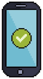 Pixel art cell phone with checked icon icon for 8bit game on white background