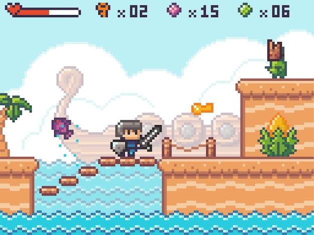 픽셀 아트, 게임 아케이드 플레이의 캐릭터. 날카로운 칼과 방패가 괴물 외계인과 싸우는 남자. 강에 나무 플랫폼이있는 픽셀 화 된 게임 장면, 보드에서 단계, 오래된 나무 배