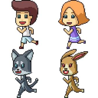 ピクセルアートキャラクタージョギング