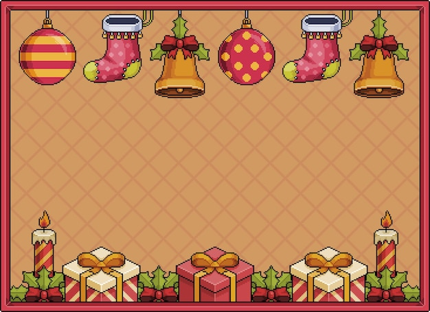 Pixel art christmas background banner 8bit with bells christmas balls gift candles and sock pixel