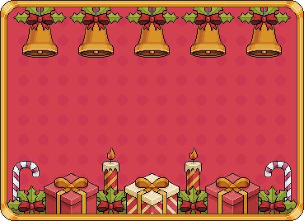 Pixel art christmas background banner 8bit with bells christmas balls gift candles