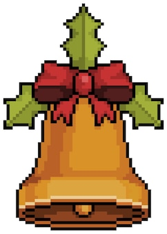 Pixel art christmas bell with bows and leaves christmas decoration bit game item