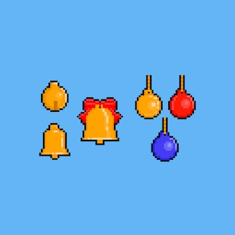 Pixel art christmas golden bell set
