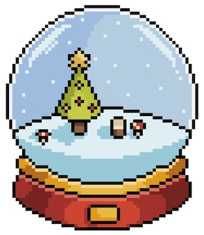 Pixel art christmas snow globe with christmas tree item for game bit on white background