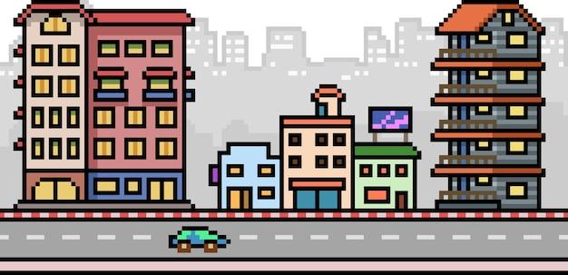 Пиксель арт улица города