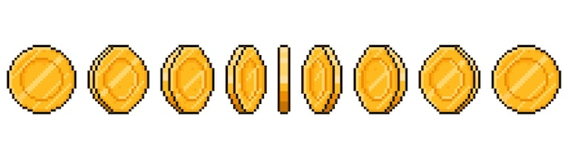 Pixel art coin animation. game ui golden coins rotation stages, pixel game money animated frames