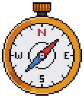 Pixel art compass icon for 8bit game on white background