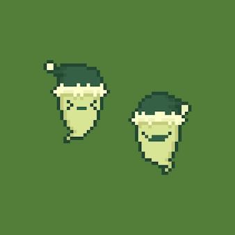 Pixel art cute cartoon ghost character wearing santa claus hat.