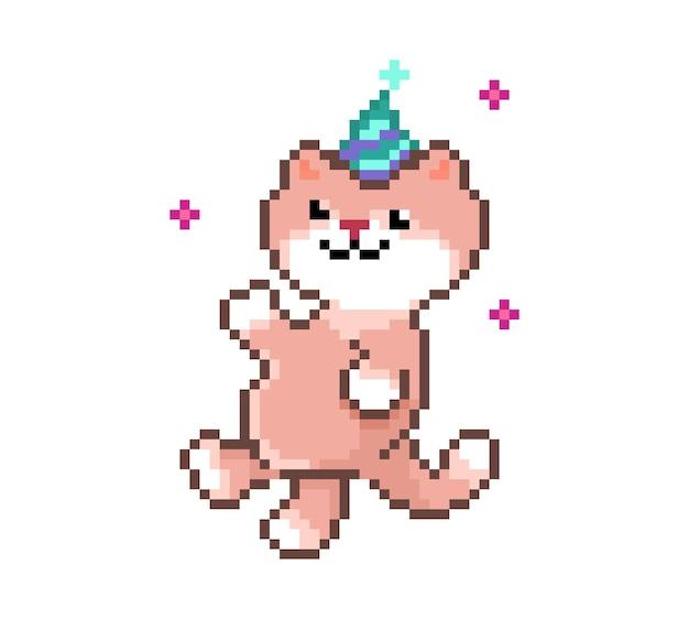 Pixel art cute cat happy birthday holiday card funny pet