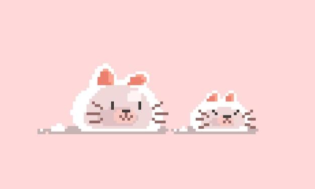 픽셀 아트 귀여운 고양이 점액 캐릭터 디자인.