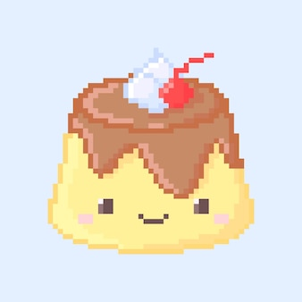 Pixel art of cute custard pudding