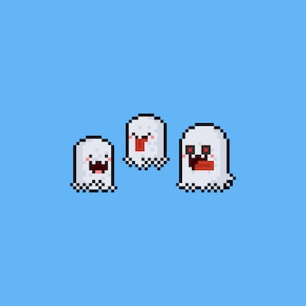 Pixel art cute ghost character set