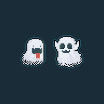 Pixel art cute ghost characters with glowing light