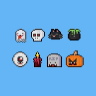 Pixel art cute halloween cartoon icon set