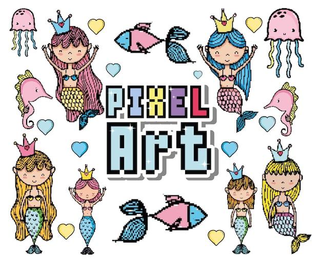 Pixel art cute mermaids and aquatics cartoons