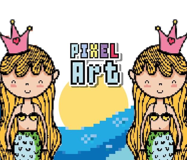 Pixel art cute mermaids漫画