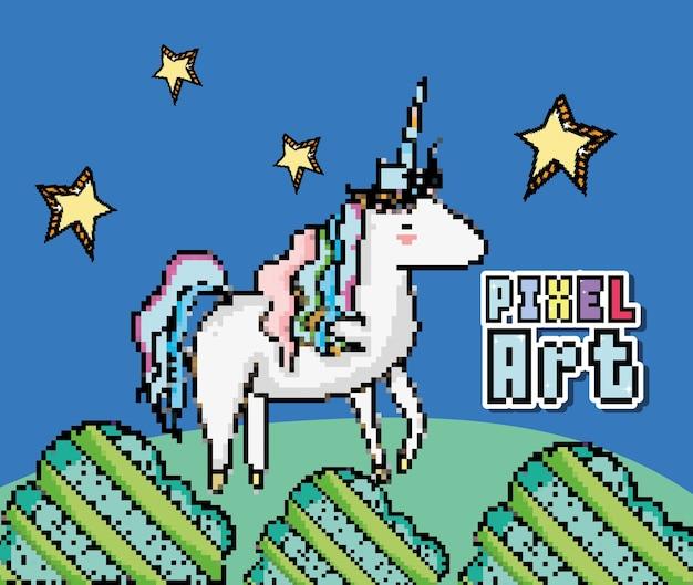Pixel искусство милый единорог векторные иллюстрации графический дизайн