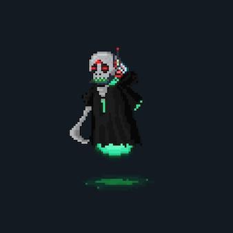Пиксель арт персонаж кибер-жнеца
