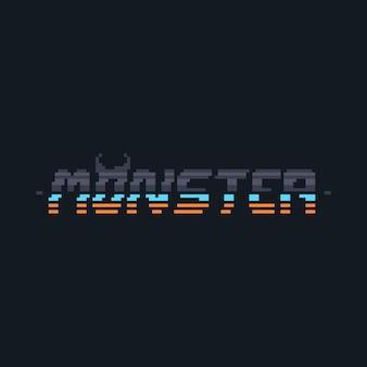 Пиксель арт киберпанк монстр дизайн текста