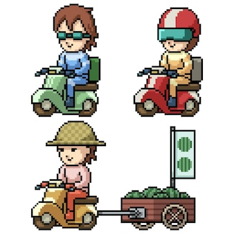 Pixel art of delivery rider
