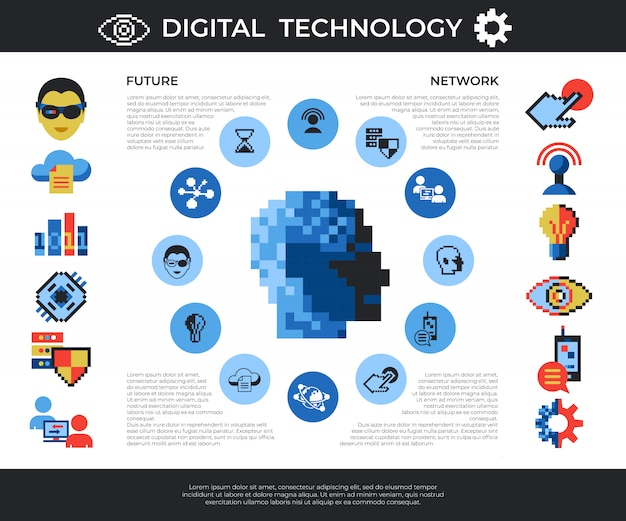 Pixel art digital technology and network icons set