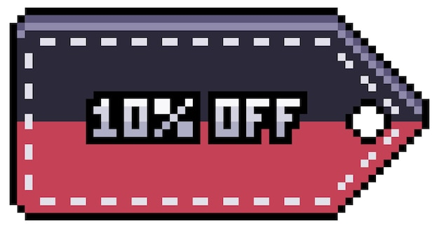Pixel art discount and sale tag 10 off black friday 8bit game item on white background