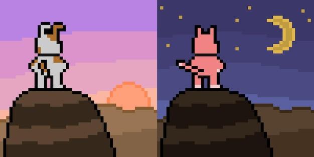 Pixel art of dog cat top of mountain