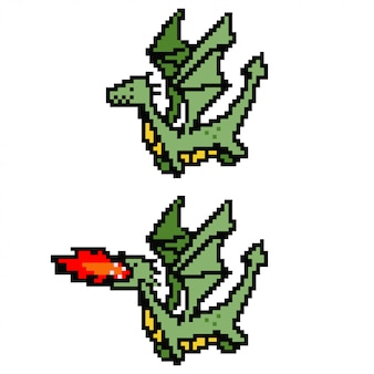 Pixel art dragon.   8 bit game character isolated on white background.