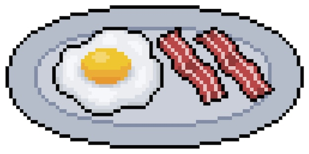 ベーコンとピクセルアートの卵。白い背景の上のアメリカン朝食ビットゲームアイテム