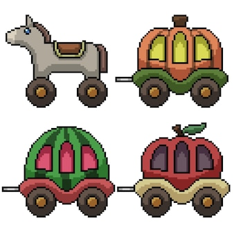 Pixel art of fancy carriage toy isolated on white