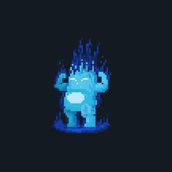 Пиксель арт толстый огненный монстр персонаж